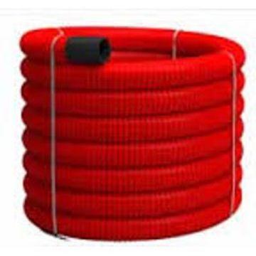 Poza cu Tub Flexibil PVC pereti dubli rosu 75mm, Tehnoworld
