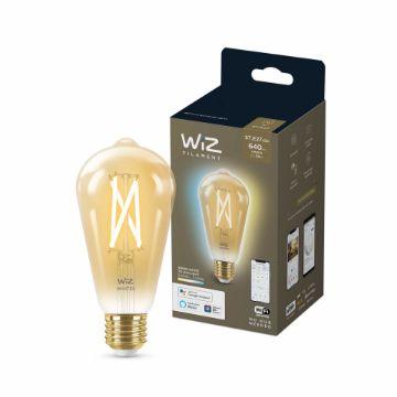 Poza cu Bec LED WiZ smart WIFI E27 ST64 Filament Amber 640lm Tunable White
