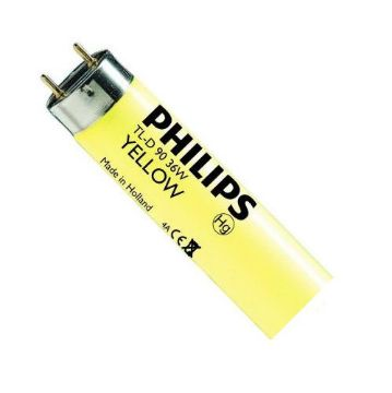 Picture of Tub fluorescent Philips TL-D Yellow tubular, 18W, T8, G13, lumina galbena, 1580LM