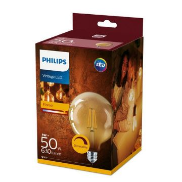 Picture of Bec LED Philips Clasic 8W E27 G120 Gold forma glob 630LM PS03098